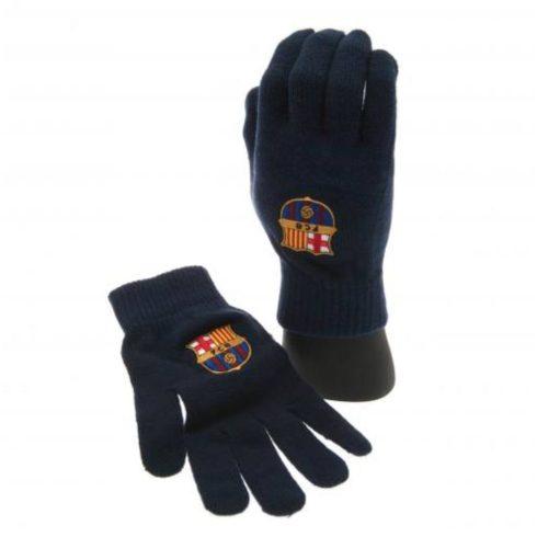 FC Barcelona kötött kesztyű címerrel Navy