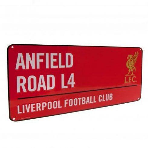 Liverpool fém utcatábla Anfield Road RED