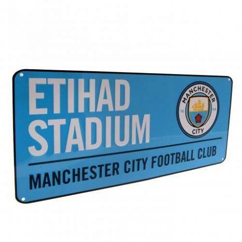 Manchester City fém utcatábla nagy New Etihad Blue