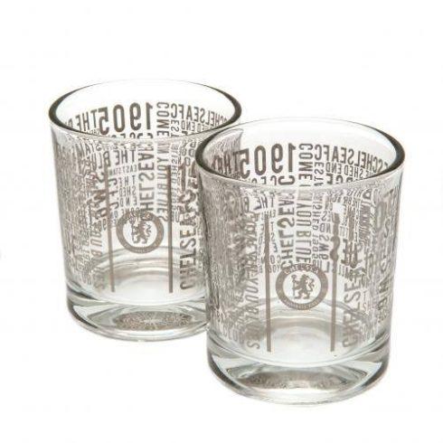 Chelsea üveg whiskys pohár szett 2db-os Wordmark
