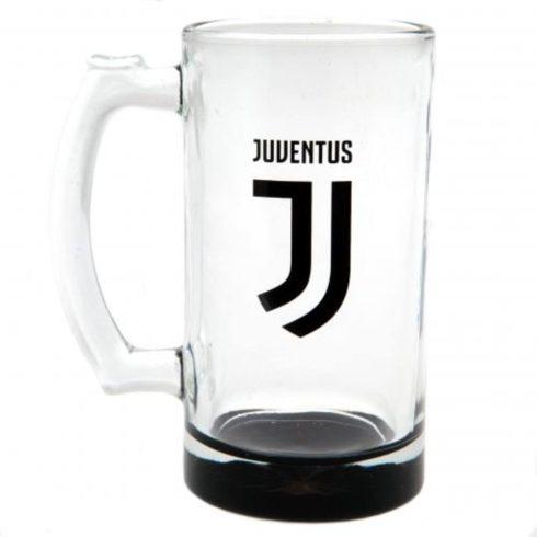 Juventus masszív üveg füles sörös korsó