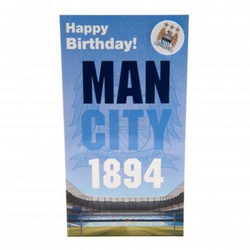 Manchester City FC szülinapi üdvözlőkártya kitűzővel OldCrest