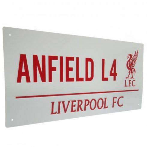 Liverpool fém utcatábla Anfield Road White