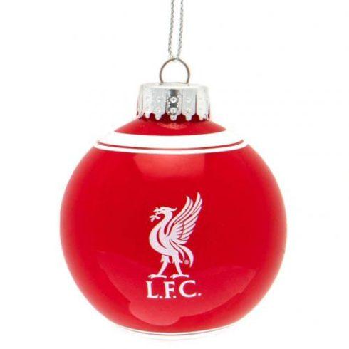 Liverpool FC üveg karácsonyfadísz gömb Crest